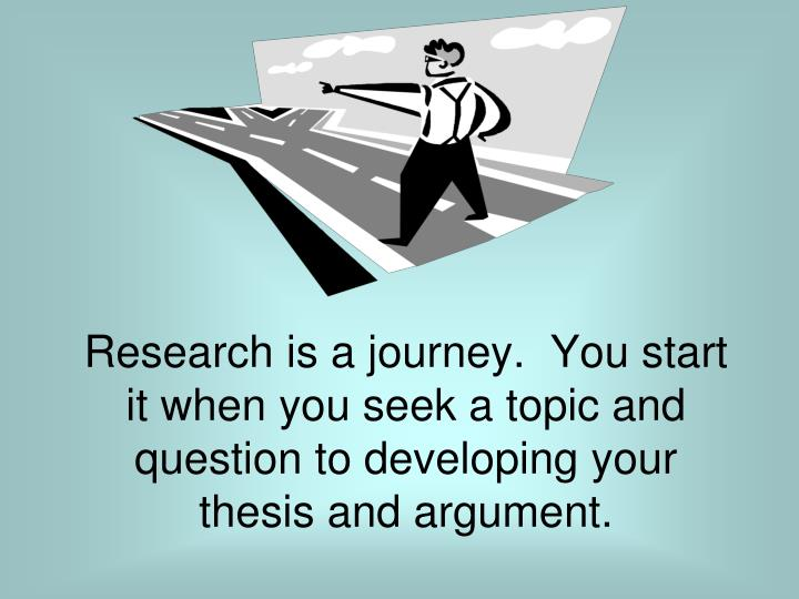 Research is a journey.  You start it when you seek a topic and question to developing your thesis and argument.