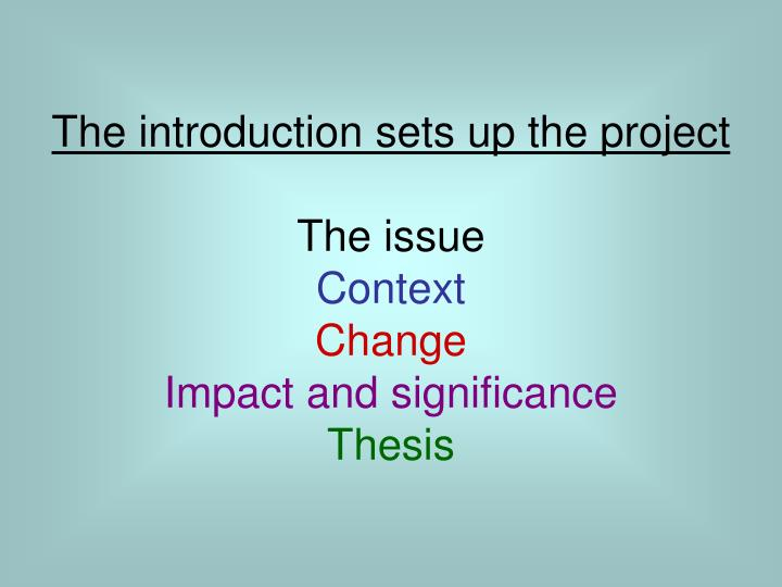 The introduction sets up the project
