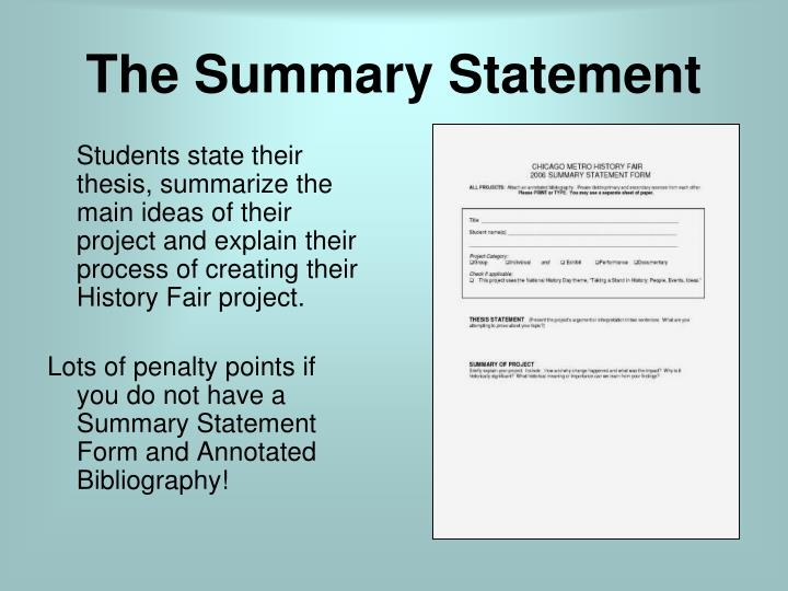 The Summary Statement