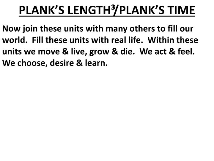 PLANK'S LENGTH³/PLANK'S TIME
