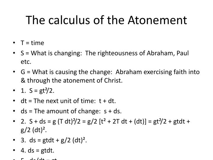 The calculus of the Atonement