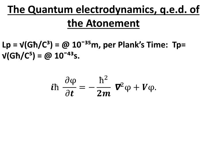 The Quantum electrodynamics, q.e.d. of the Atonement