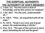 the scriptual authority the authority of god s memory
