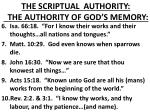 the scriptual authority the authority of god s memory1