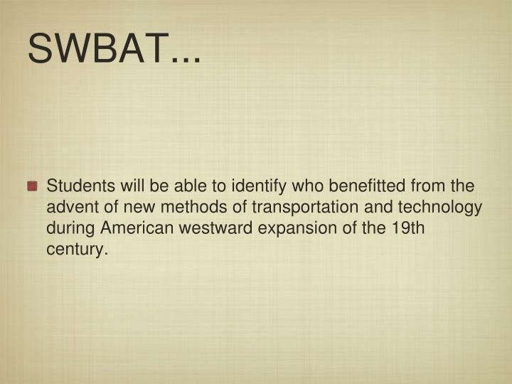 SWBAT...