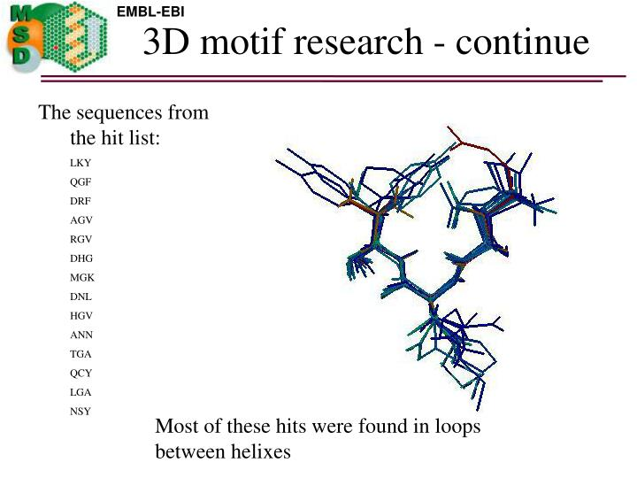 3D motif research - continue