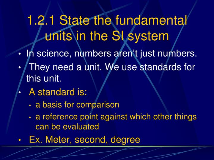 1.2.1 State the fundamental units in the SI system