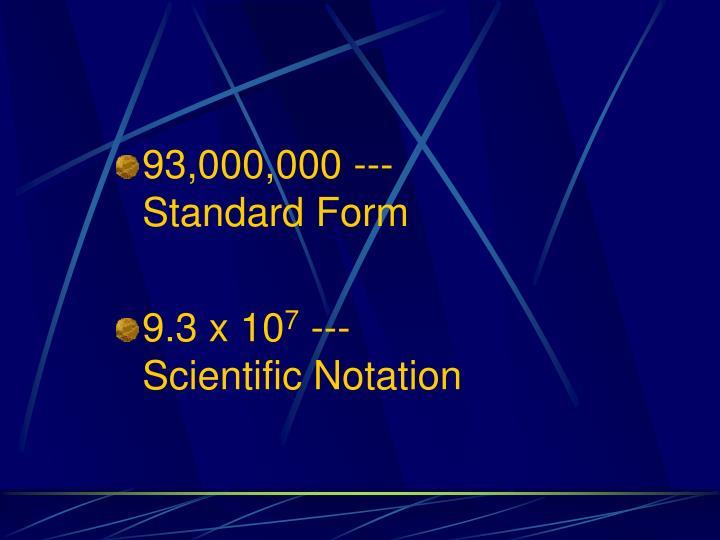 93,000,000 ---                    Standard Form