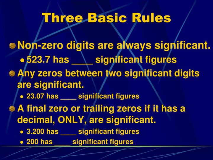 Three Basic Rules