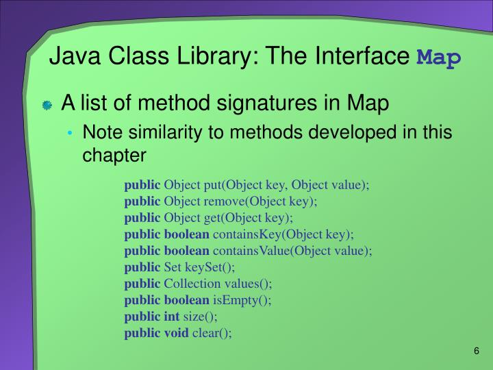 Java Class Library: The Interface