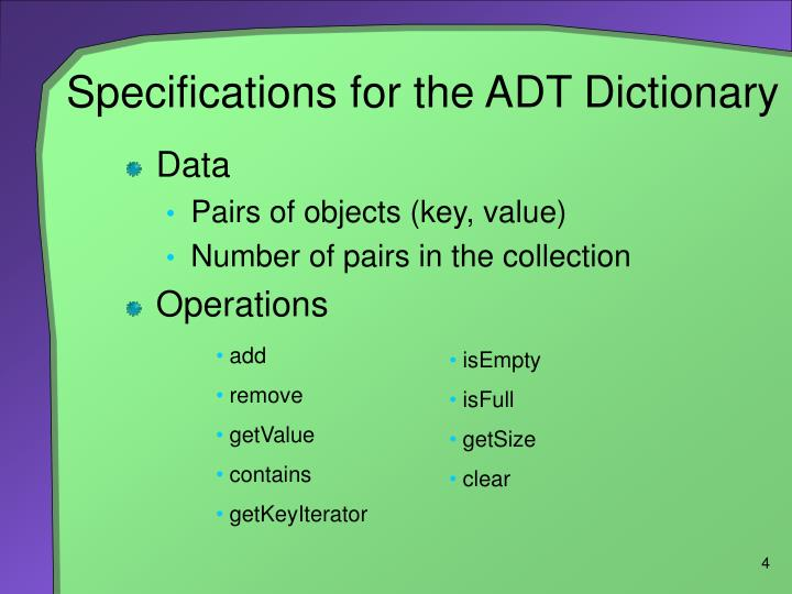 Specifications for the ADT Dictionary