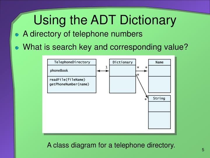 Using the ADT Dictionary
