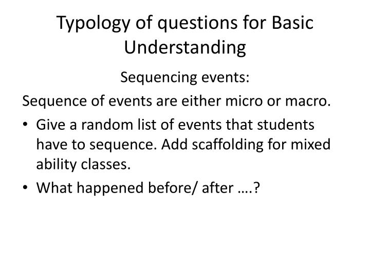 Typology of questions for Basic Understanding