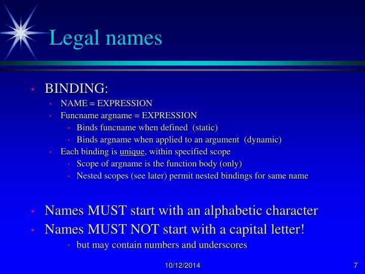 Legal names