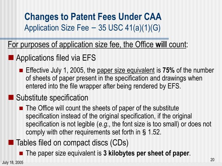 Changes to Patent Fees Under CAA