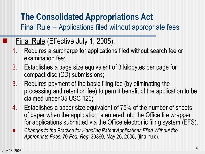 The Consolidated Appropriations Act