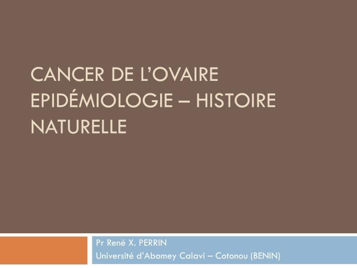CANCER DE L'OVAIRE