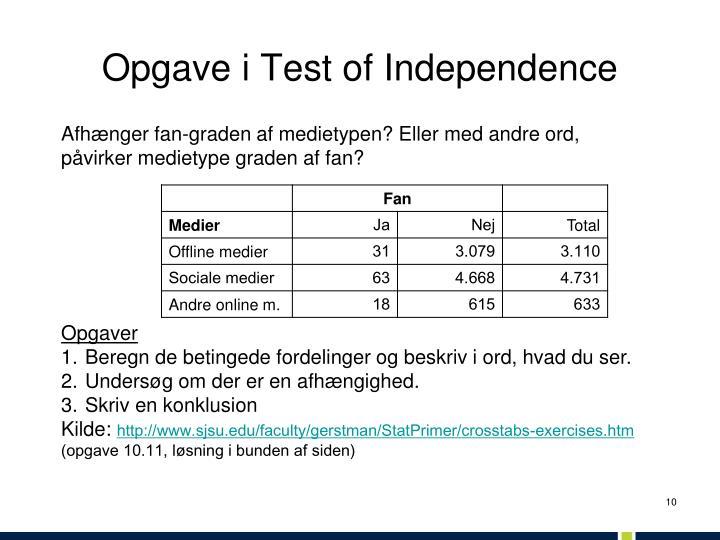 Opgave i Test of Independence