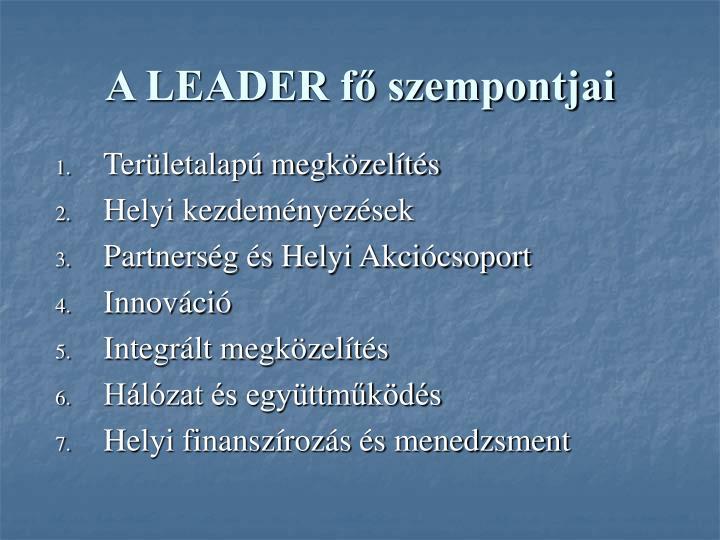 A LEADER fő szempontjai