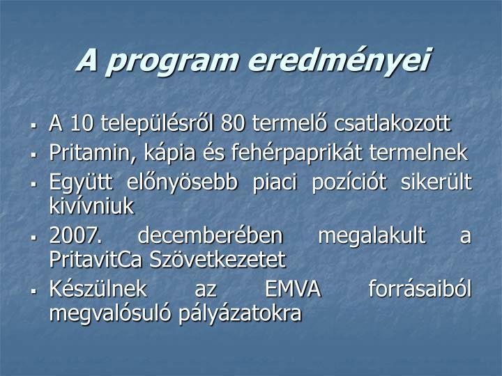 A program eredményei