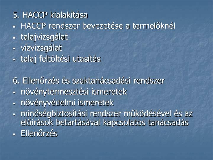 5. HACCP kialakítása