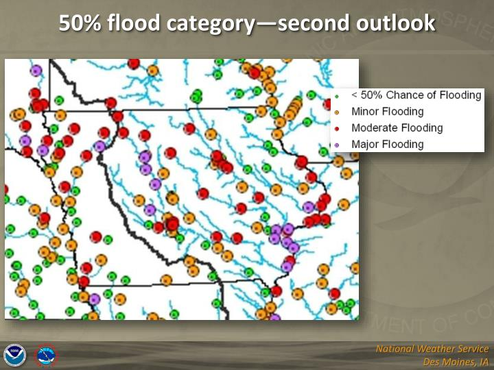 50% flood category—second outlook