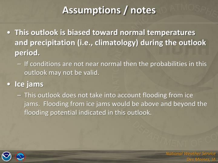 Assumptions / notes