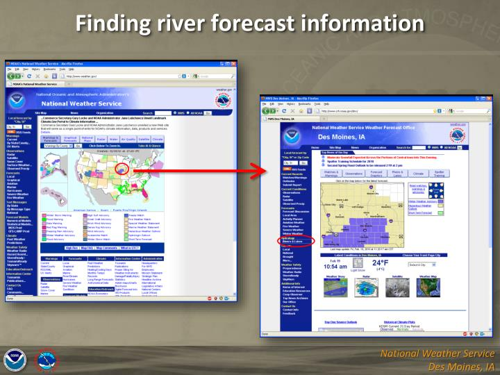 Finding river forecast information