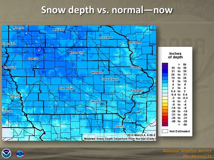 Snow depth vs. normal—now