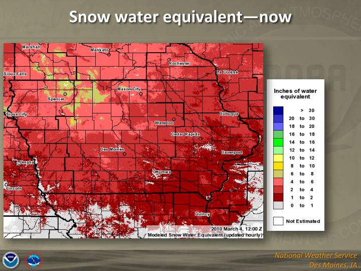 Snow water equivalent—now