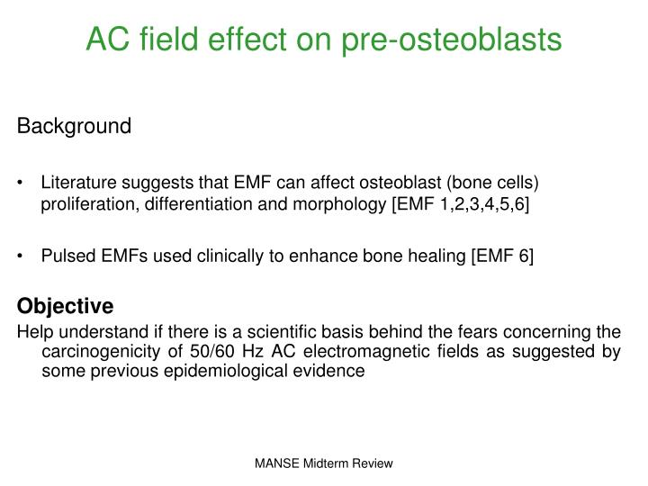 AC field effect on pre-osteoblasts