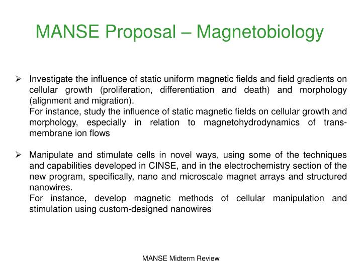 MANSE Proposal – Magnetobiology