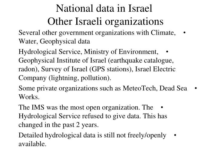 National data in Israel