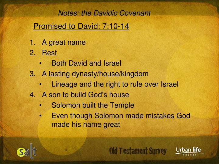 Notes: the Davidic Covenant