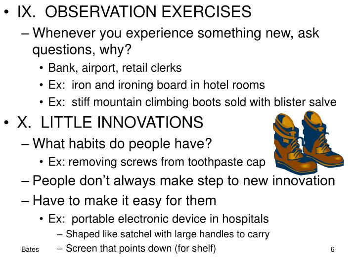 IX.  OBSERVATION EXERCISES