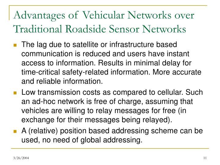 Advantages of Vehicular Networks over Traditional Roadside Sensor Networks