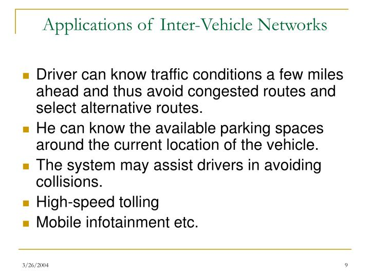 Applications of Inter-Vehicle Networks