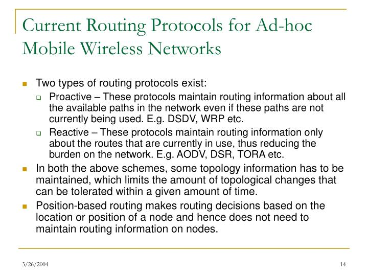 Current Routing Protocols for Ad-hoc Mobile Wireless Networks