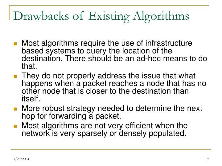 Drawbacks of Existing Algorithms