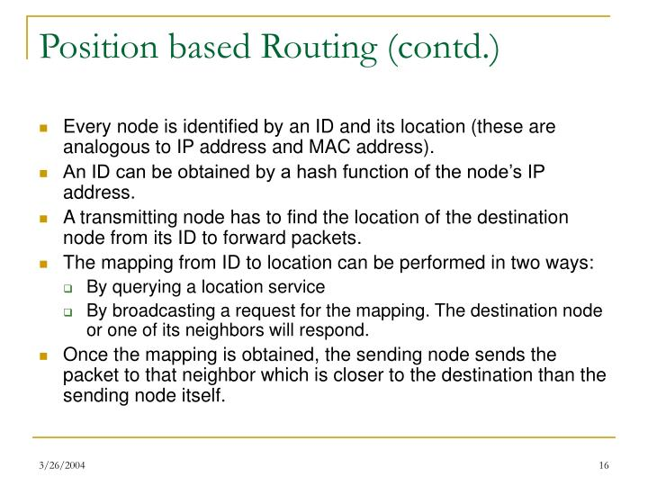 Position based Routing (contd.)