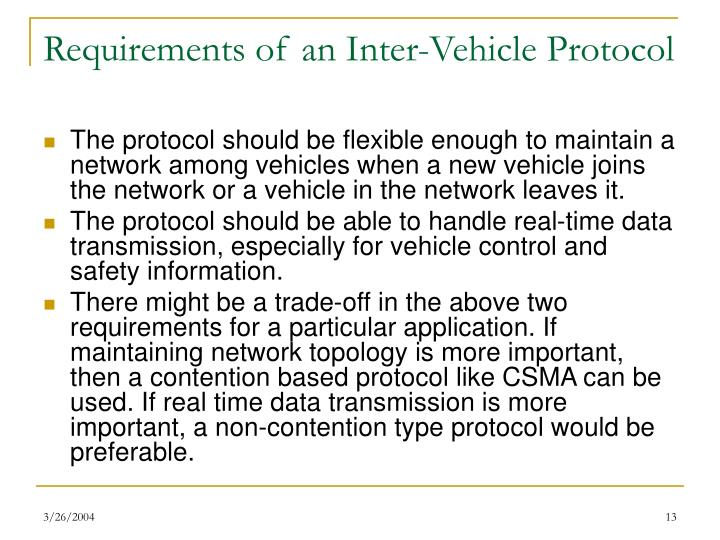 Requirements of an Inter-Vehicle Protocol