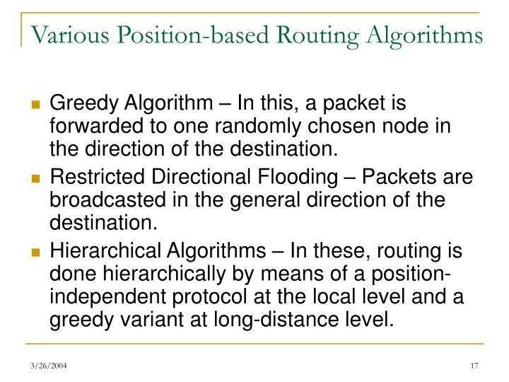 Various Position-based Routing Algorithms