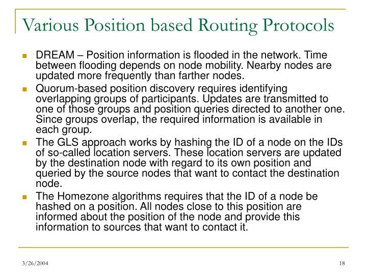 Various Position based Routing Protocols