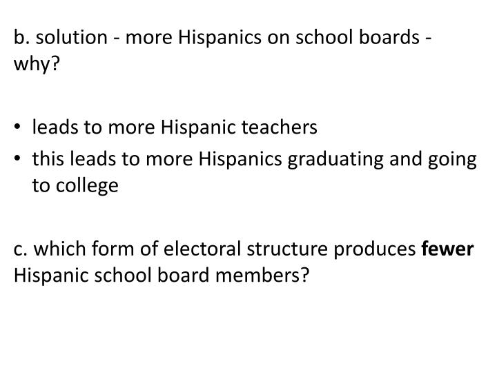 b. solution - more Hispanics on school boards - why?