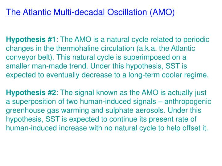 The Atlantic Multi-decadal Oscillation (AMO)