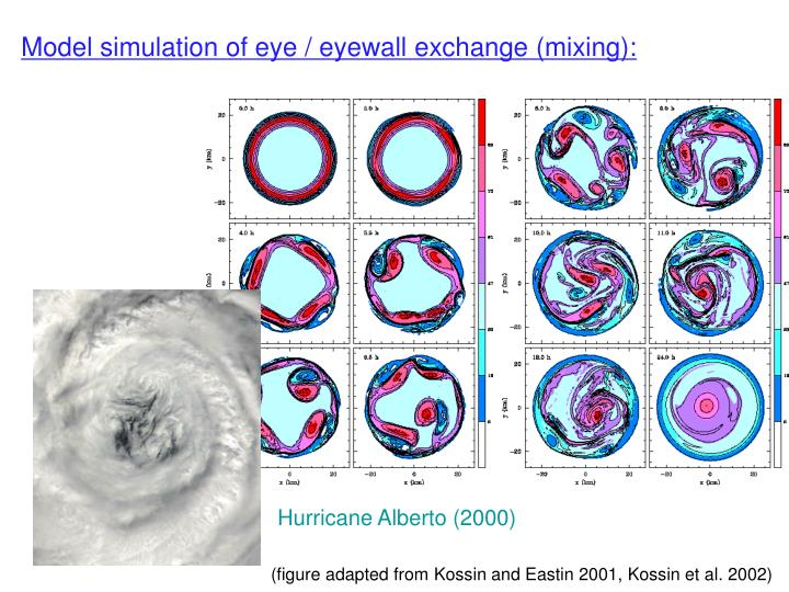 Model simulation of eye / eyewall exchange (mixing):