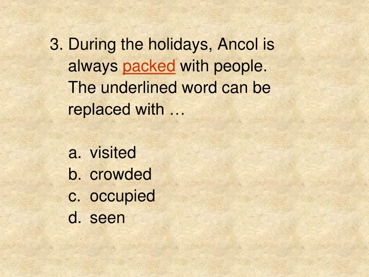 3. During the holidays, Ancol is