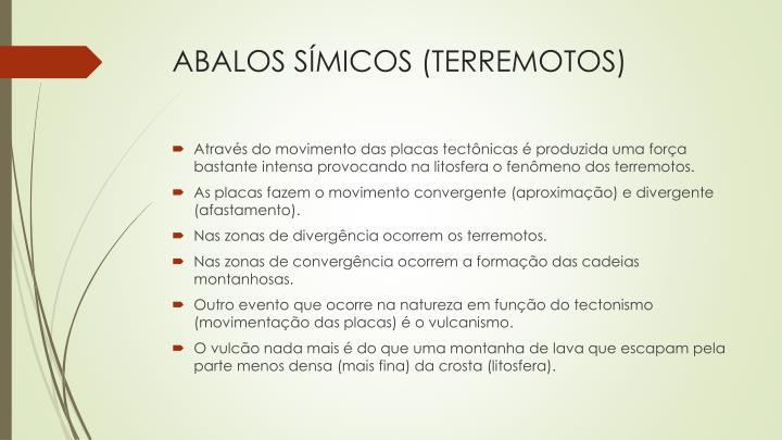 ABALOS SÍMICOS (TERREMOTOS)