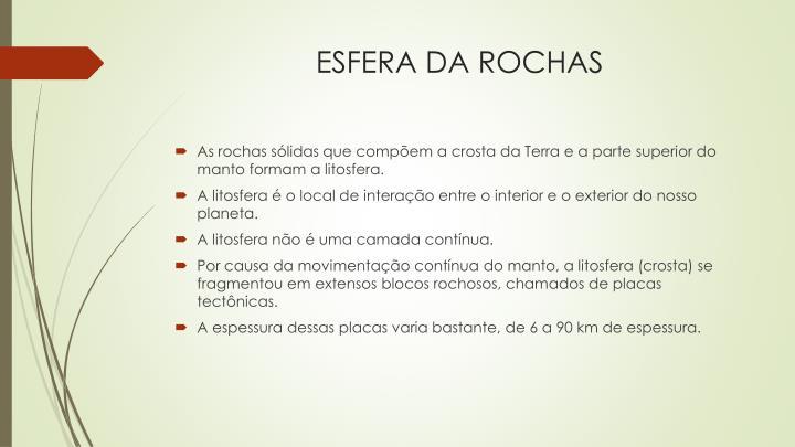 ESFERA DA ROCHAS