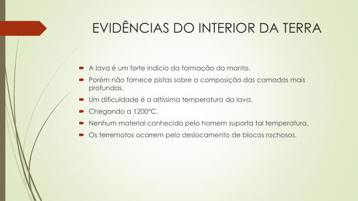 Evid ncias do interior da terra